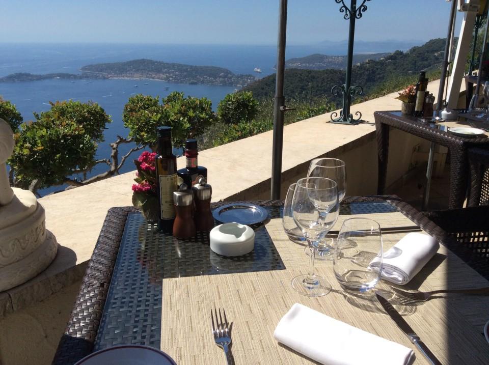 Table at Les Remparts Restaurant of Chateau de la Chevre d'Or in Eze France