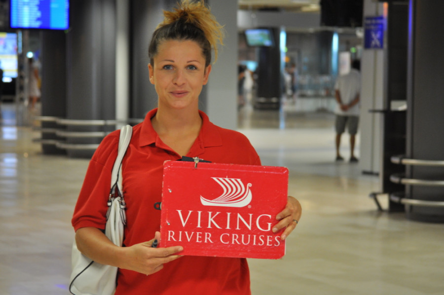 Viking River Cruises red shirt greeter (photo chriscruises.com)