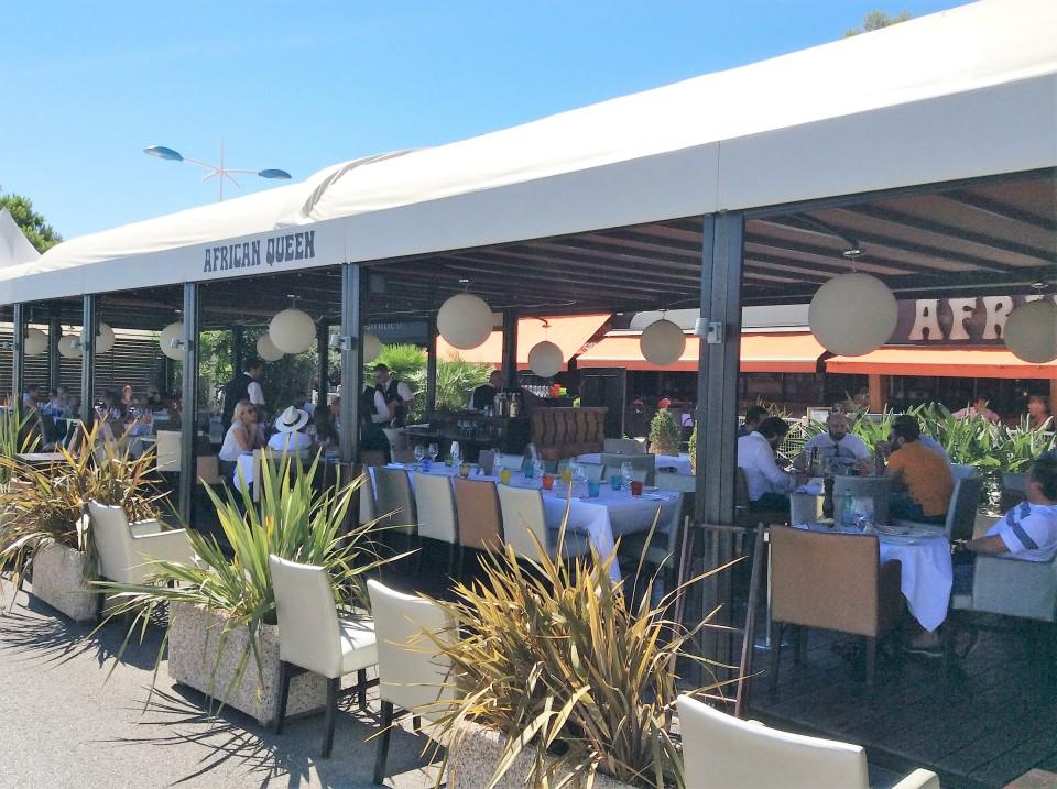 African Queen restaurant terrace in the port of Beaulieu-sur-Mer