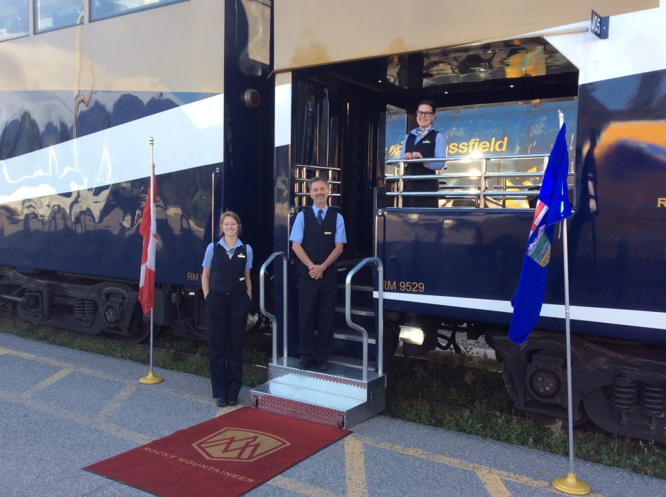 Rocky Mountaineer red carpet welcome : Brenna, Dale and Tiffany