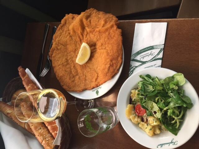 Wiener Schnitzel platter at Figlmüller restaurant in Vienna, Austria