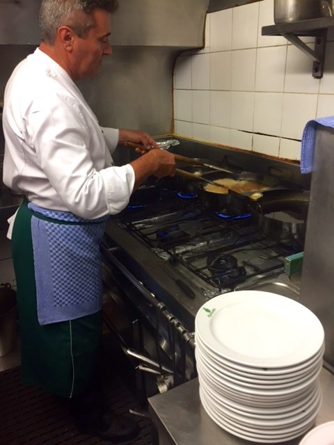 Three pan cooking process at Figlmüller restaurant
