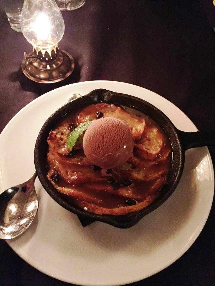 Pennsylvania 6 DC : BREAD & BUTTER PUDDING dessert with black currants, butterscotch sauce, milk chocolate gelato