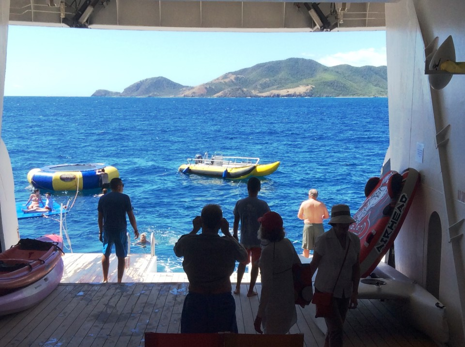 Yacht Cruising the Caribbean in style with Windstar Cruises : Watersports Platform at stern of Wind Surf