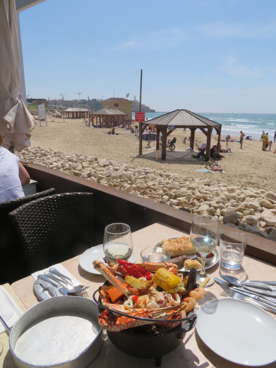 Amazing Israel ! Mixed Seafood and Israeli Chardonnay at Manta Ray Restaurant on the beach of Tel Aviv Israel !