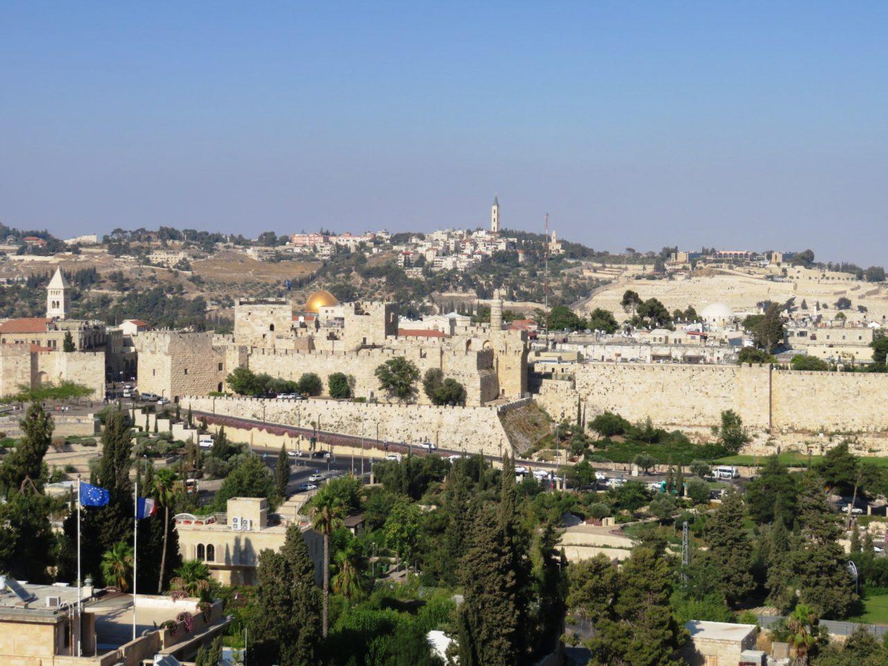 King David Hotel, Jerusalem Israel - View of old city of Jerusalem and Mount of Olives from King David Hotel