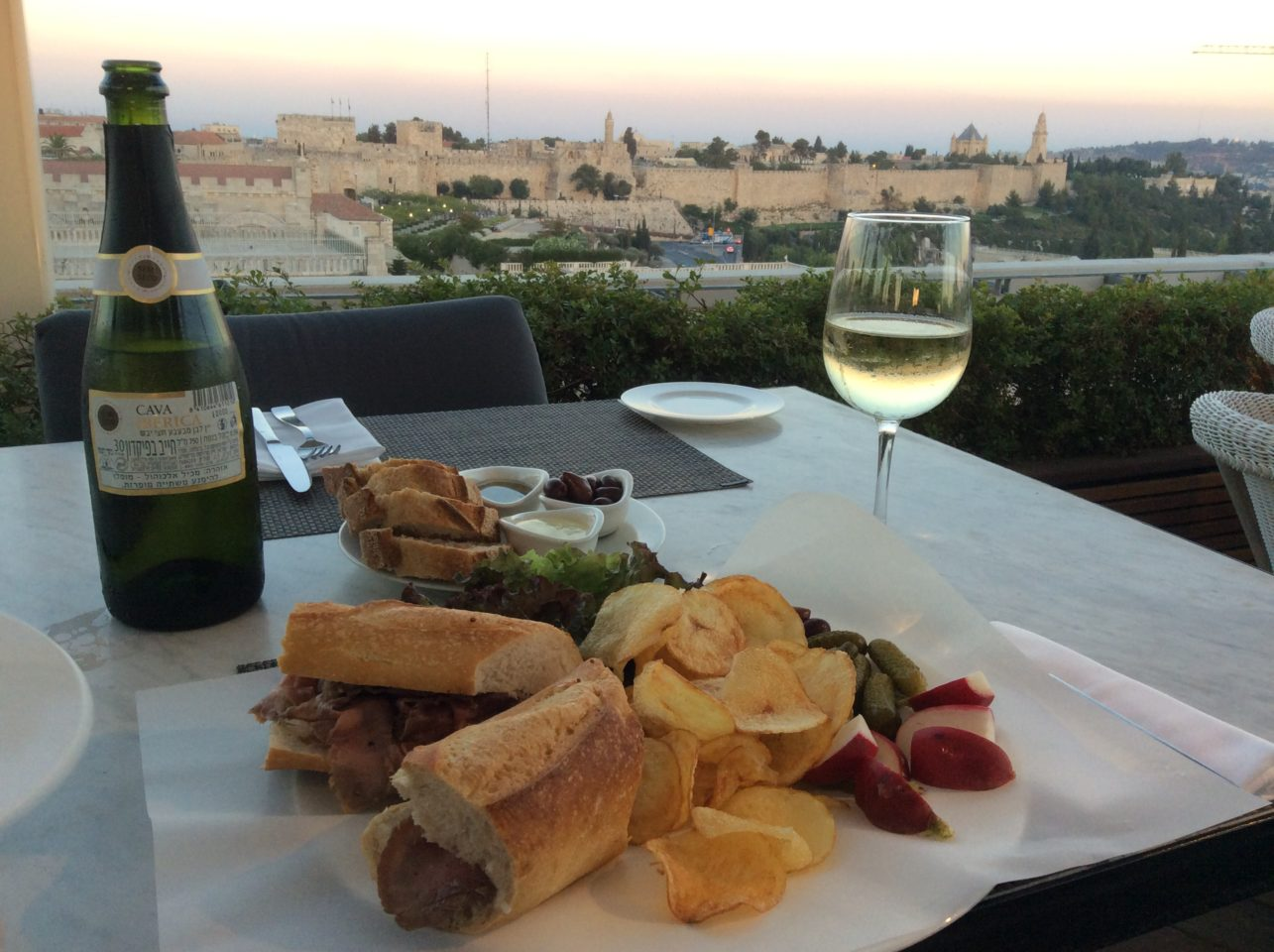 Vacationing in Israel ... Old City of Jerusalem viewed from rooftop bar and restaurant of the Mamilla Hotel