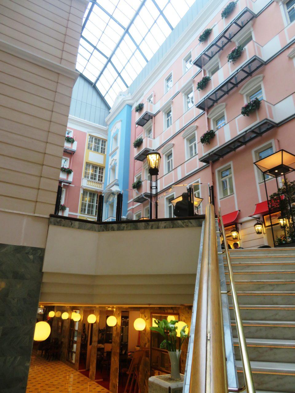 Stunningly beautiful interior of Belmond Grand Hotel Europe in Saint Petersburg, Russia