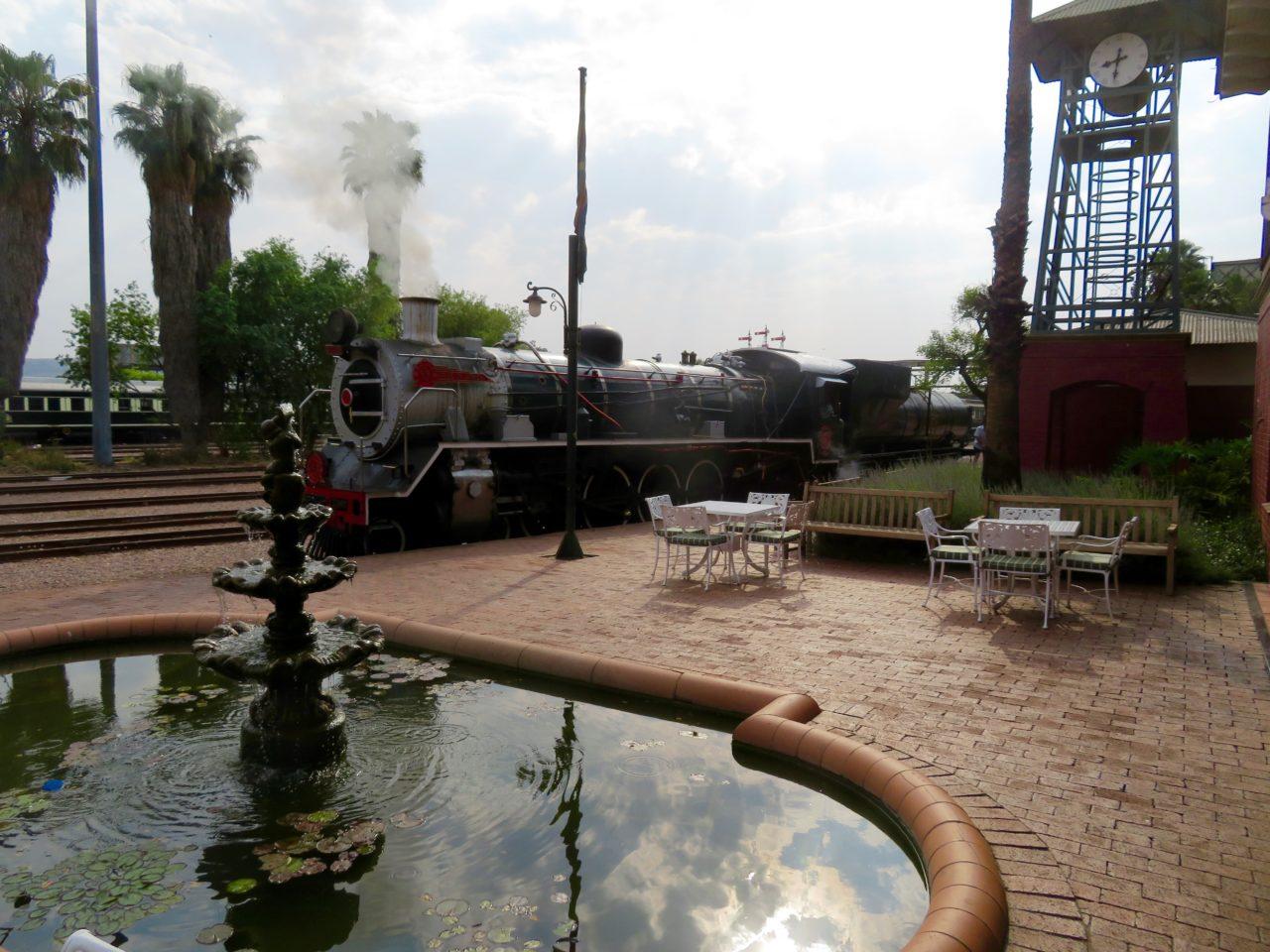 Rovos steam locomotive at the <strong>Rovos <em>Rail</em></strong> station in Pretoria, South Africa