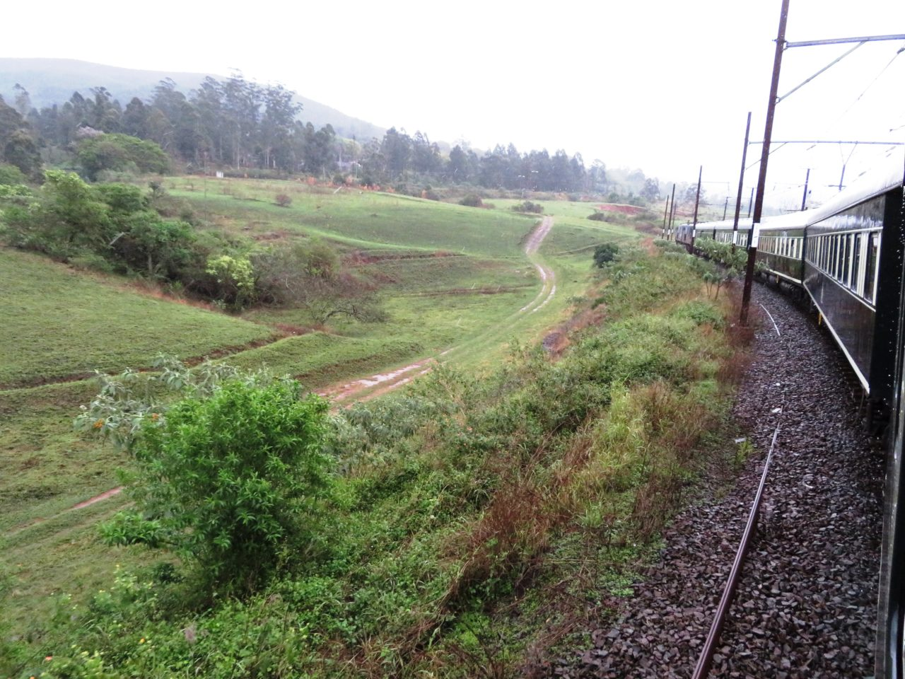 The <strong>Rovos <em>Rail</em></strong><em> Pride of Africa</em> train makes its way from Pretoria to Durban in South Africa