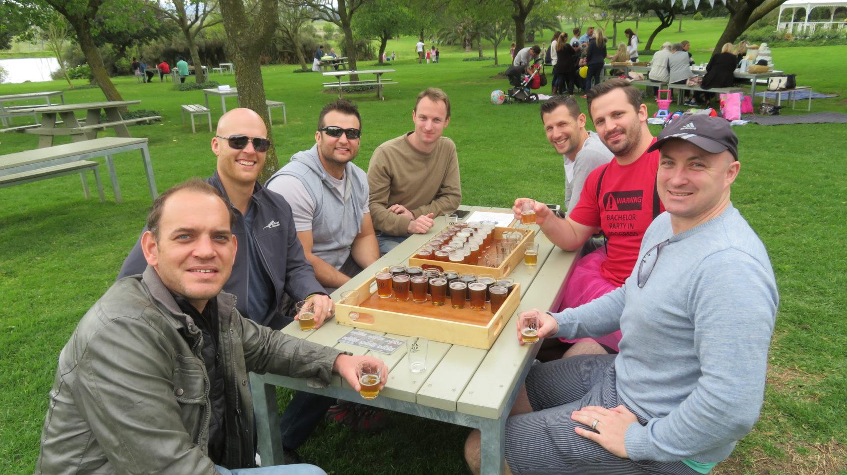 Bachelor Party getting underway with Stellenbosch beer tasting at Joostenberg Farm in Stellenbosch, South Africa