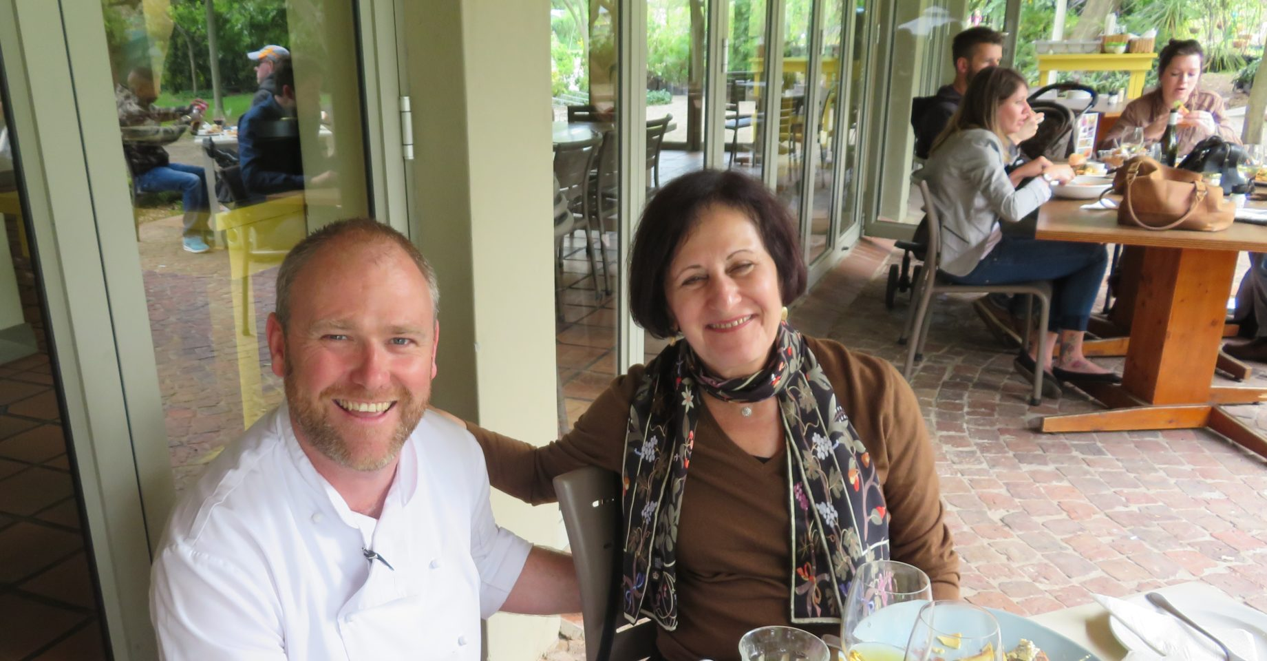 Lynn and talented Head Chef Garth Bedford at Joostenberg Bistro in Stellenbosch, South Africa