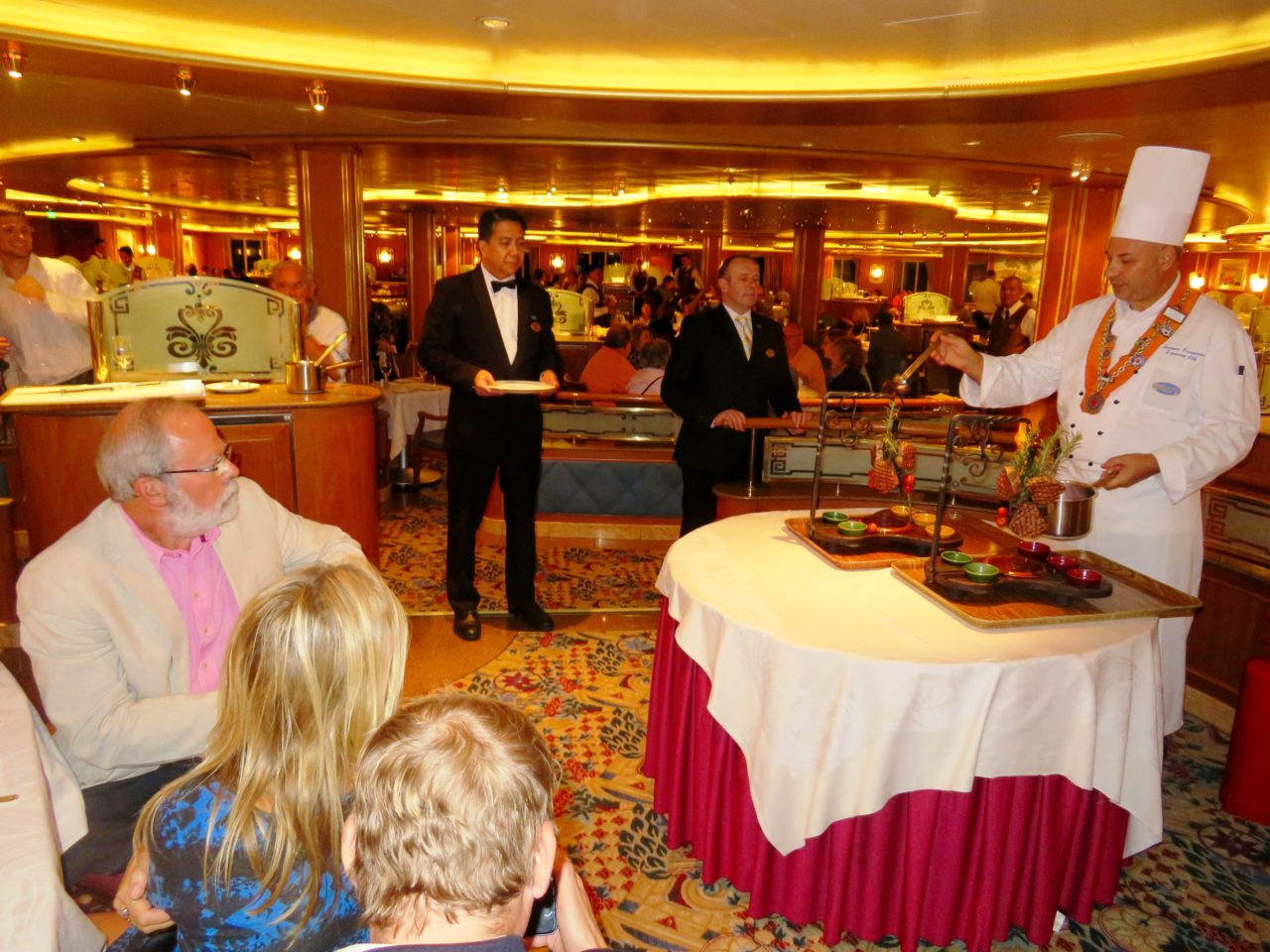 Executive Chef of Star Princess cruise ship preparing food for the Chef's Table during our Alaska Cruise with Princess Cruises