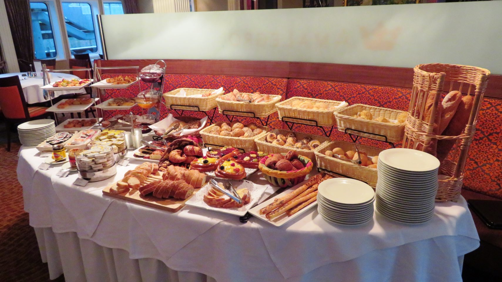 The Bread Table section of the breakfast buffet aboard the AMALegro (Paris and Normandie AMAWaterways Cruise)