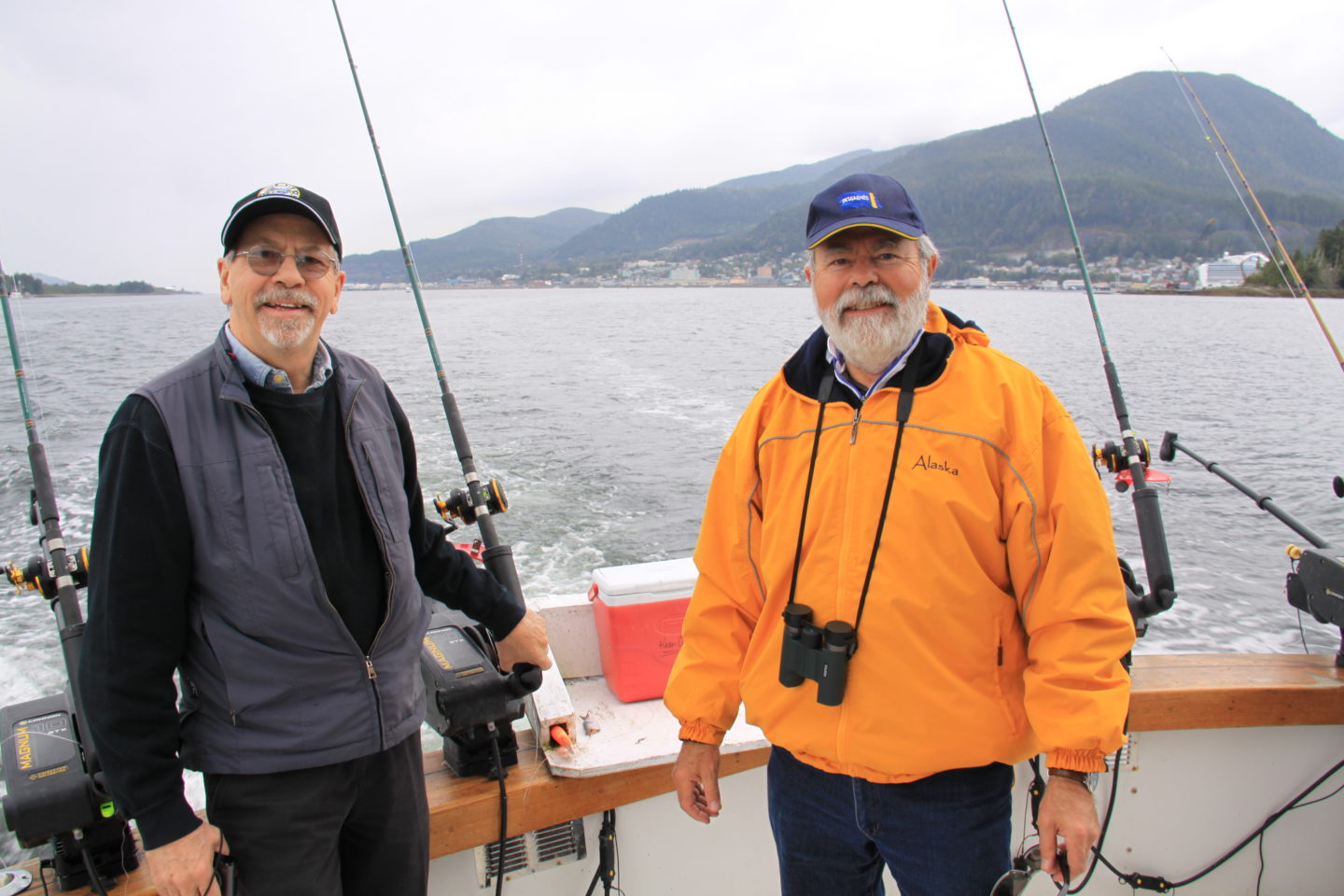 Denis and Louis-Simon out salmon fishing near Ketchikan during our Alaska Cruise with Princess Cruises