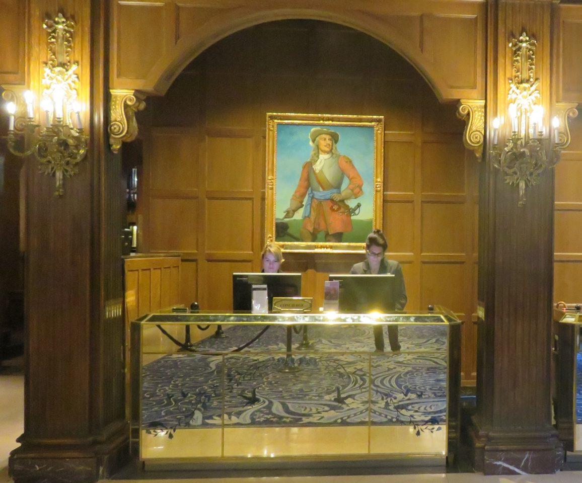 Painting of Comte de Frontenac above the Concierge Desk at the Fairmont Le Chateau Frontenac