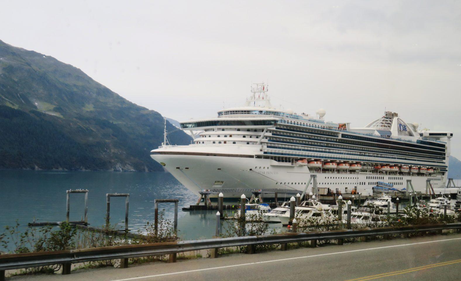 Princess Cruises ship Star Princess waiting at end of Princess Rail rail line ~ Alaska Cruise Tour