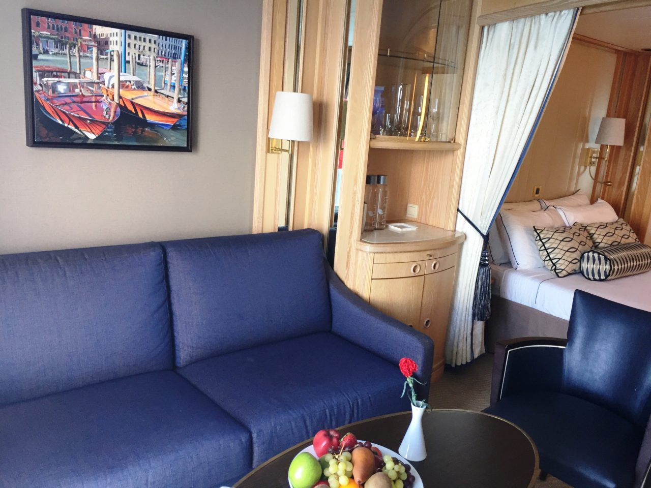 Windstar Cruises ~ our ideal cabin with a well-stocked bar