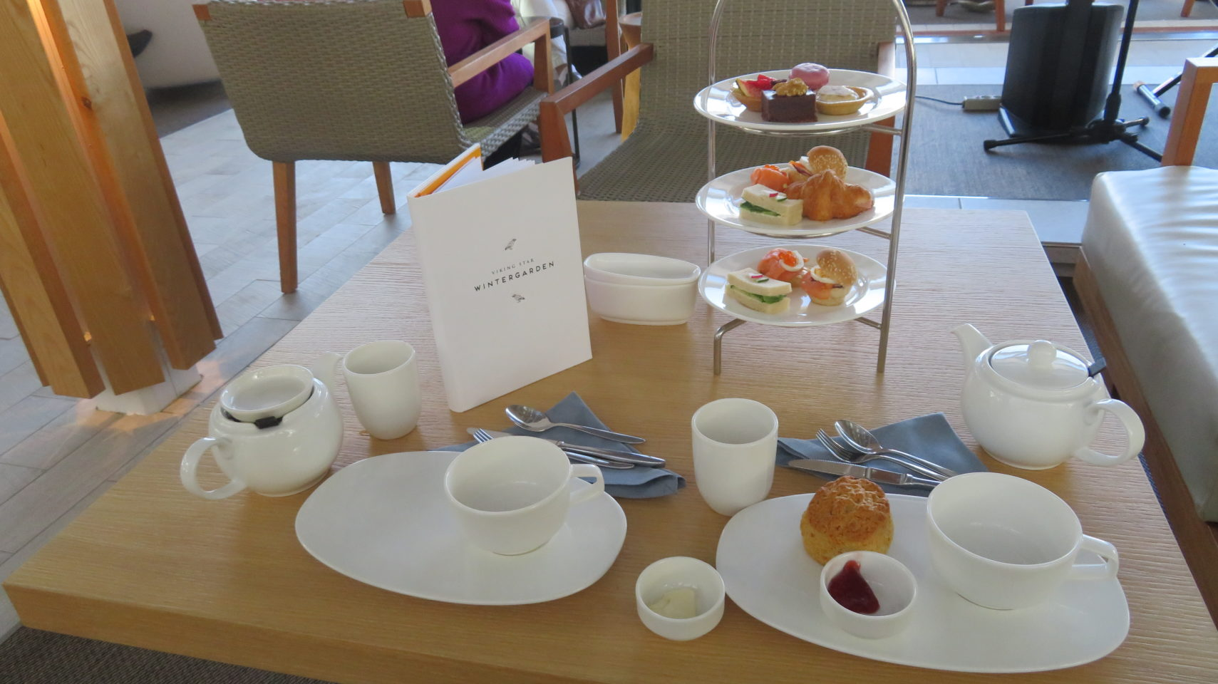 <em><strong>Viking Ocean Cruise Ships ~</strong> </em> Afternoon Tea in the Wintergarden on the Viking Star