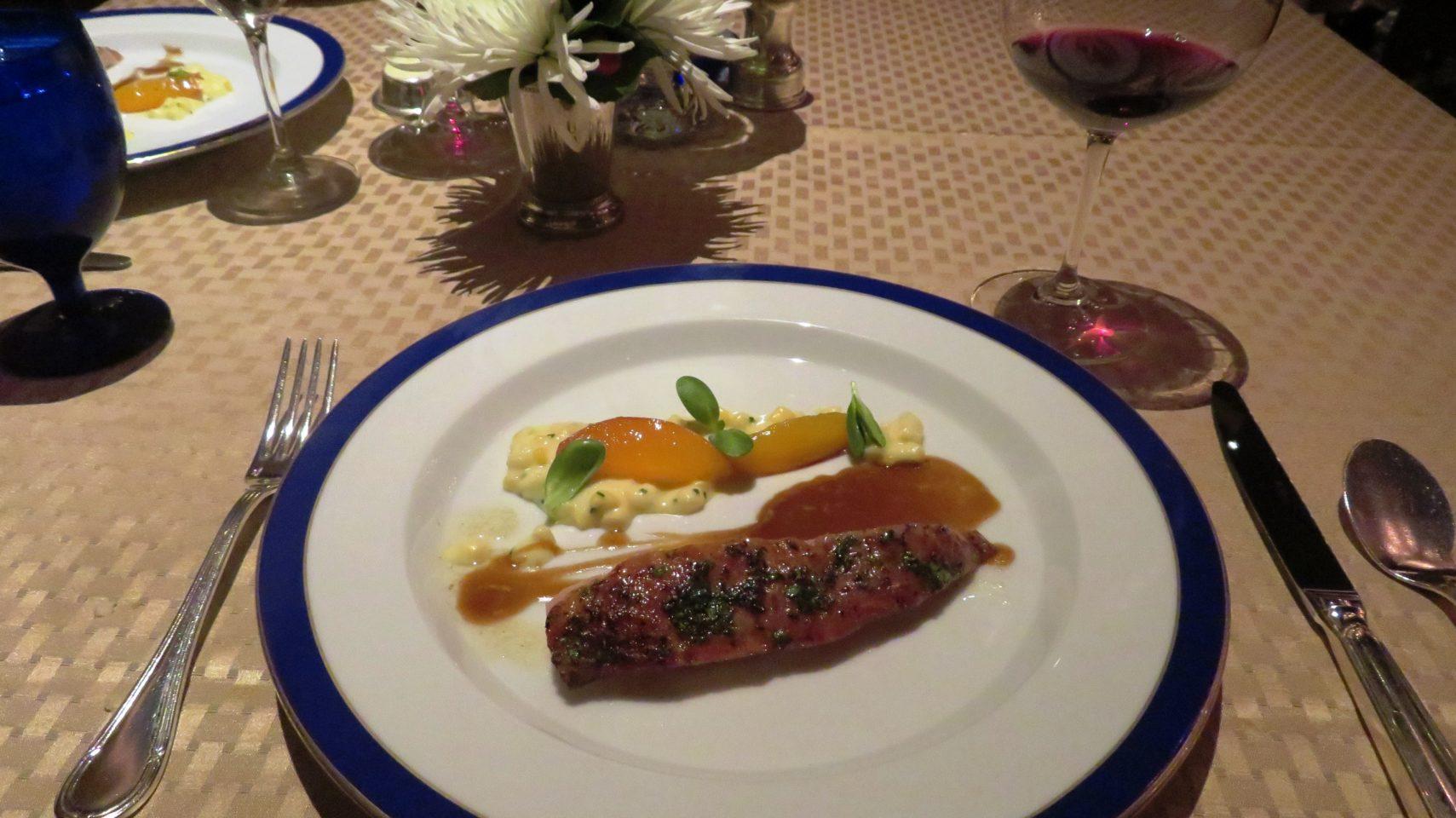 Organic Poularde with Amaretto Jusand accompanied byCreamed CornandColorado Palisades Peaches