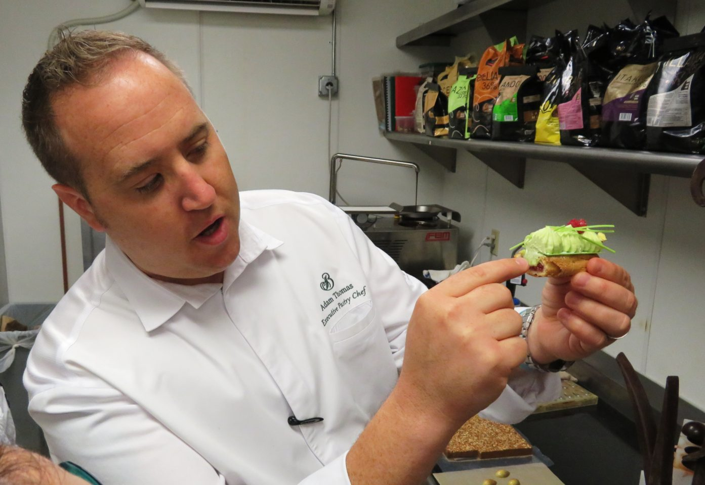 """Culinary Excellence at <em><strong>The Broadmoor</strong> </em>~ Pistachio &amp; Raspberry Eclair, another one of Chef Adam's innovative creations that """"excite"""""""