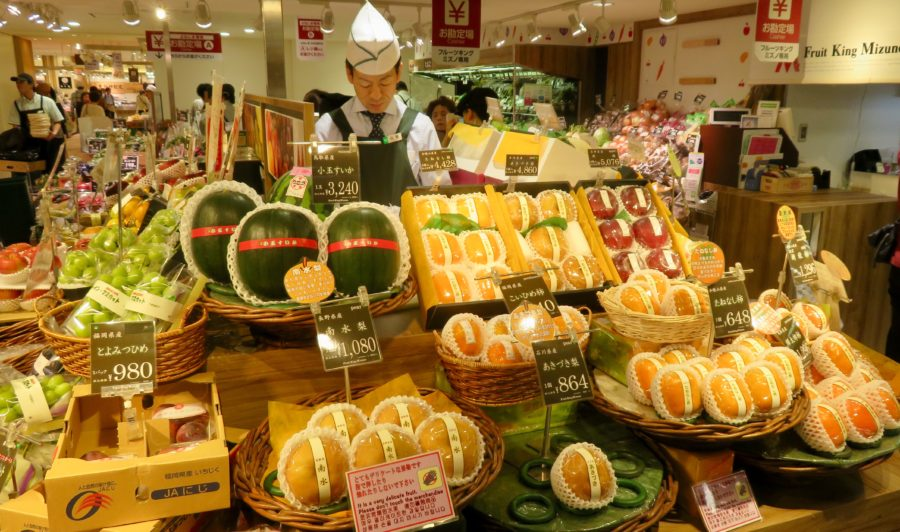 Japan Travel ~ A fruit display in an Osaka department store