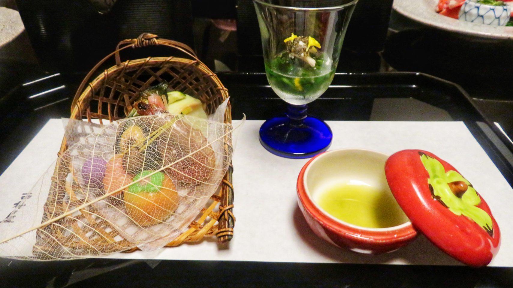 Japan Culinary Experiences ~ The appetizer course of our ten-course kaiseki gourmet dinner at Nishimuraya Honkan ryokan in Kinosaki Onsen