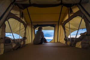 Inside of Rooftop Tent Over Looking Water