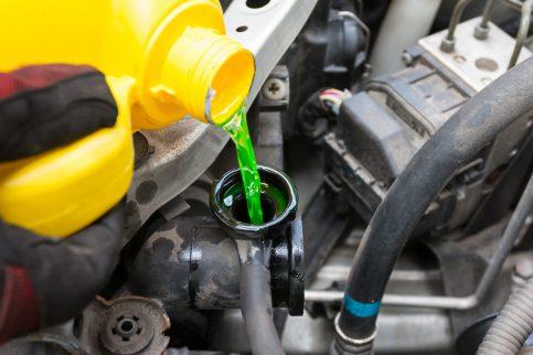 Pouring Engine Coolant (Antifreeze)