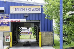 24 June 2019 - Calgary, Alberta Canada - Entrance to Touchless carwash in Calgary
