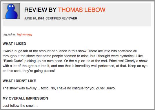 Fringe Review Sample