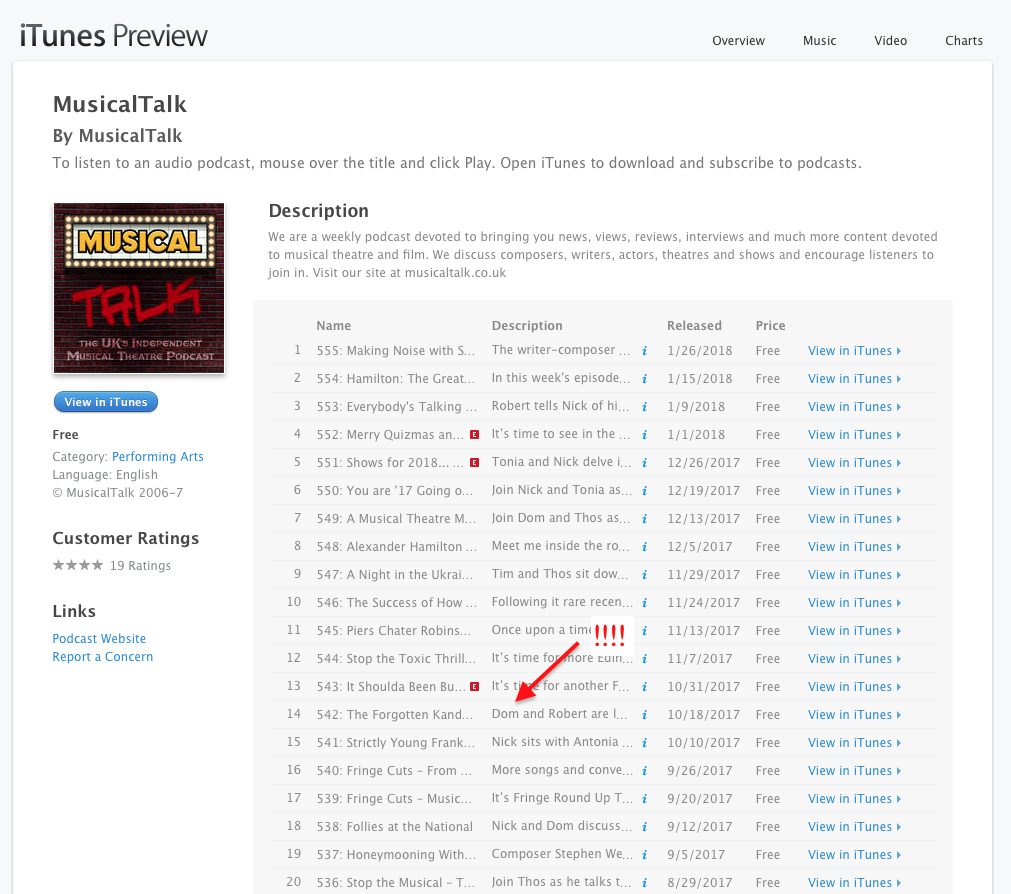 Dominic McChesney MusicalsTalk iTunes