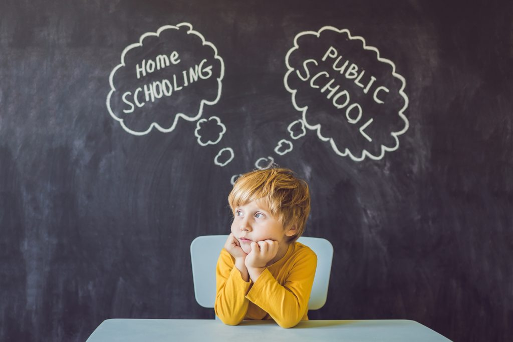 Homeschooling vs Public Schools - The boy sits at the table and chooses between home schooling and public school - be educated by teacher vs learn and study at home with parents.
