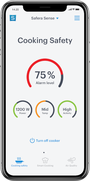 Safera iPhone app screen showing cooking safety metrics