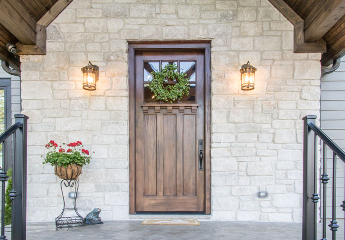 Beautifully symmetric and inviting front exterior door