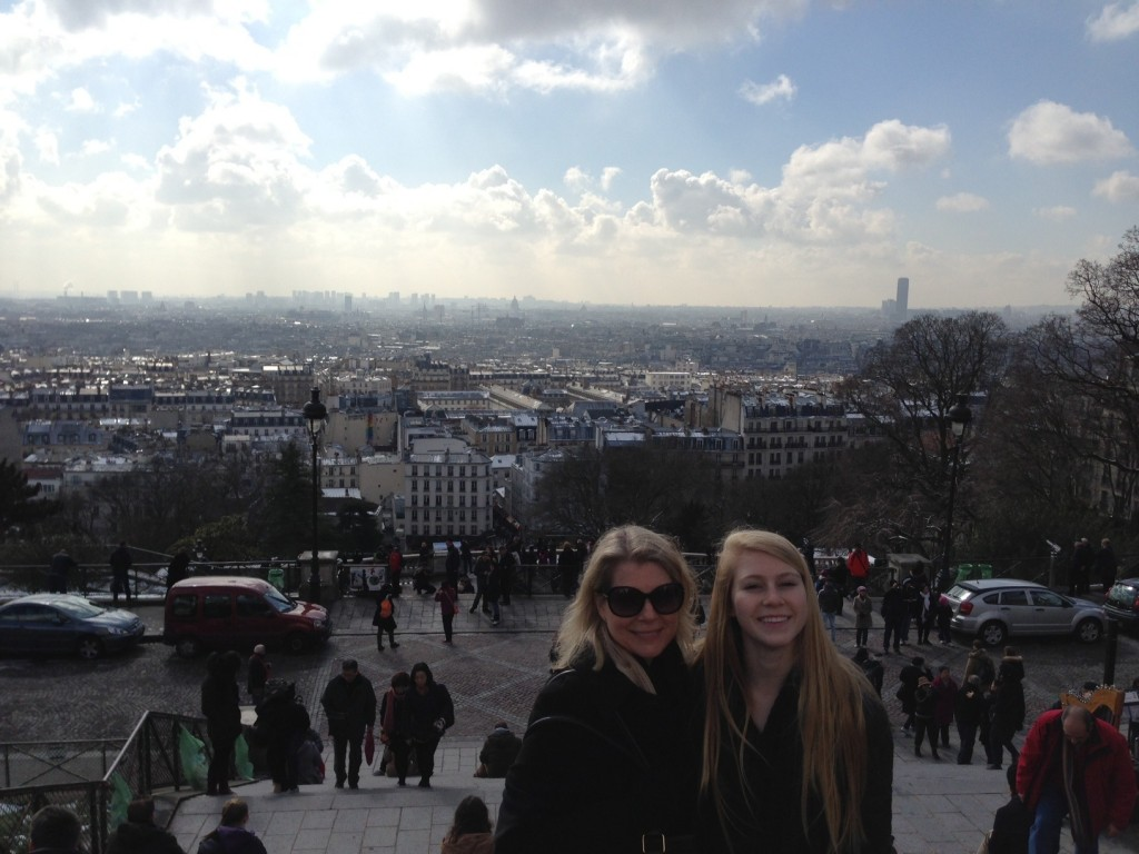 Gail and Caroline taking in the views of Sacre Coeur