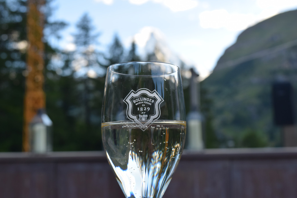 A little bubbly at Hotel Christiana with a spectacular view of the Matterhorn