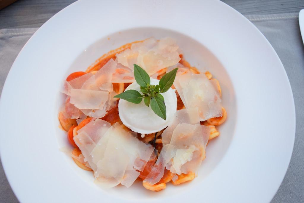 Ravioli dish at Hotel Cervo's restaurant