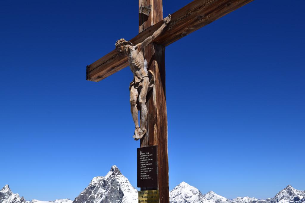 Crucifix atop the Little Matterhorn overlooking the Matterhorn