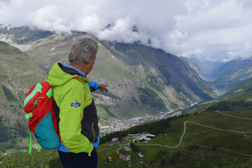 Amadé Perrig pointing out one of the hamlet's found in Zermatt