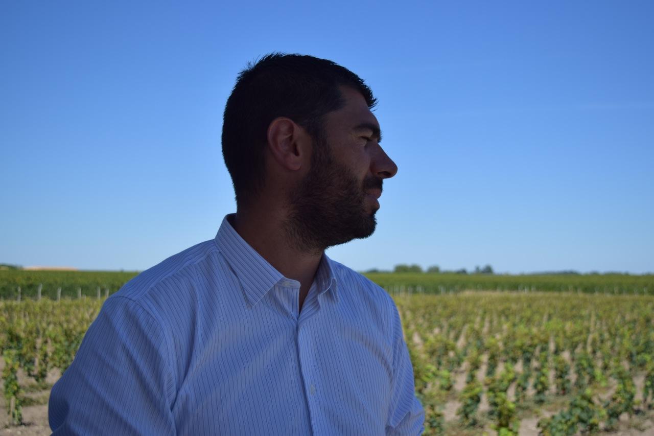 Chateau La Conseillante winemaker Jean-Michel showing us the young new vines