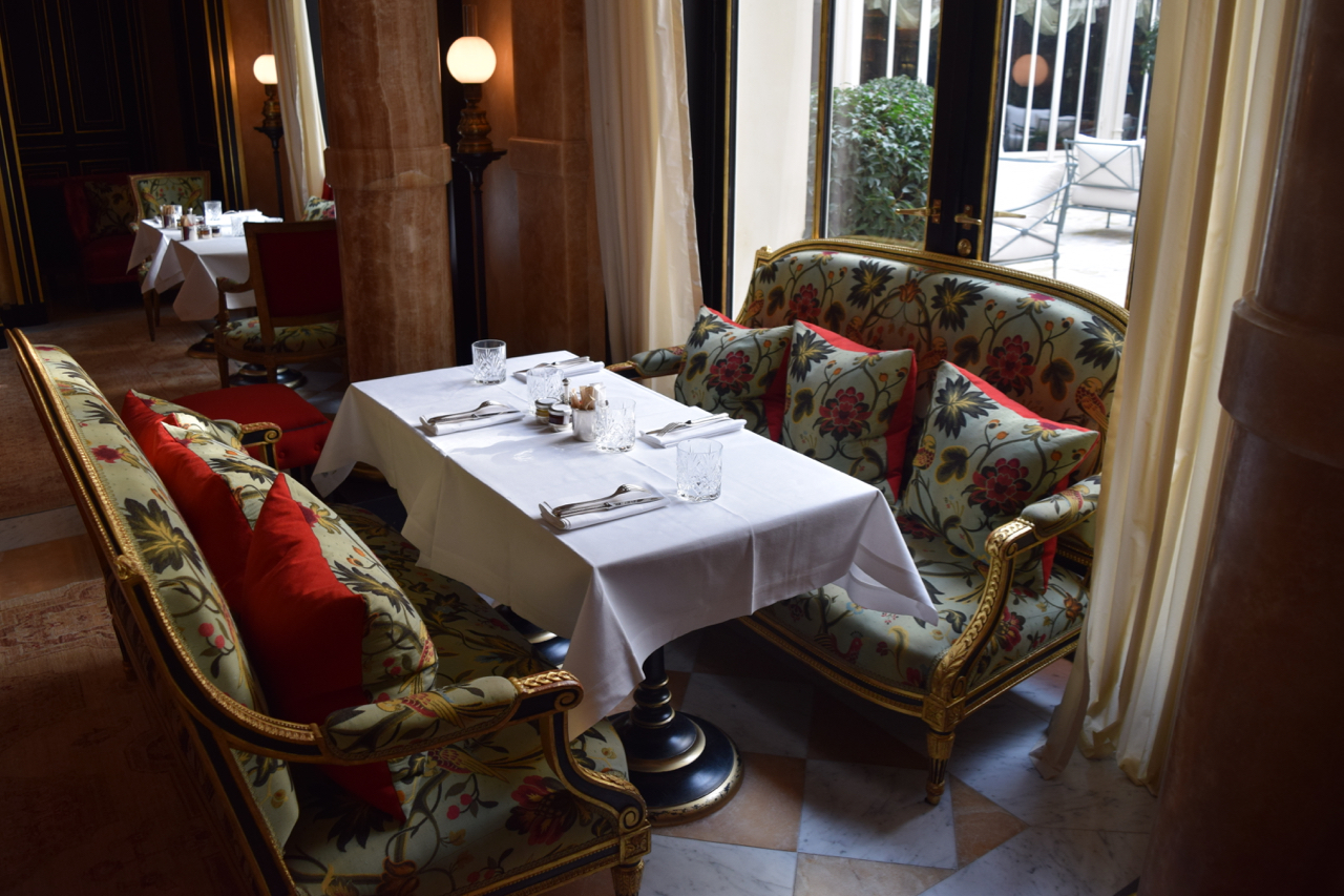 quiet table at La Reserve by the terrace window