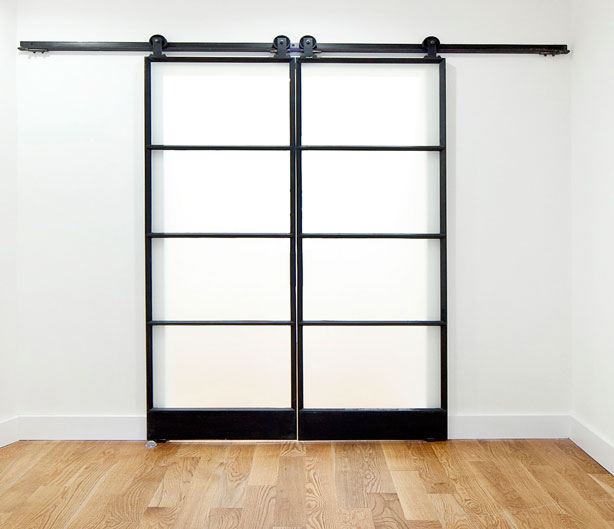 double black metal and opaque glass sliding doors