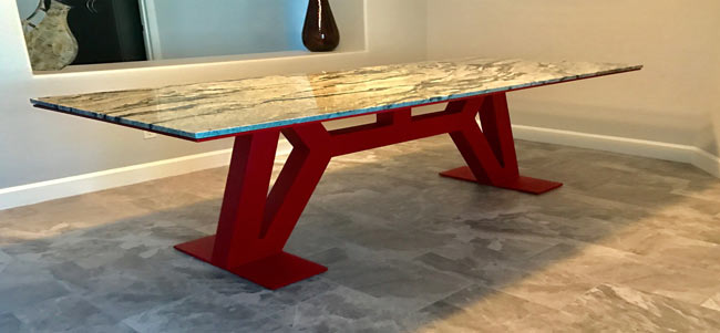 metal table base powder coated with granite top