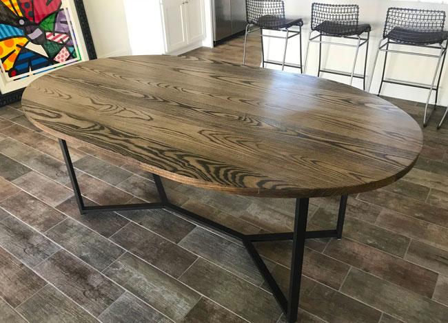 custom oval kitchen table
