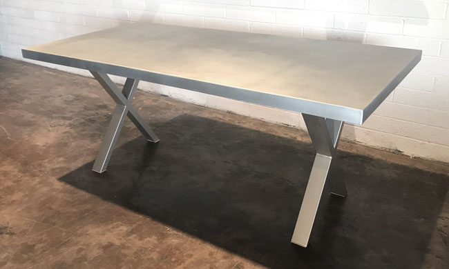 zinc table with metal base custom built