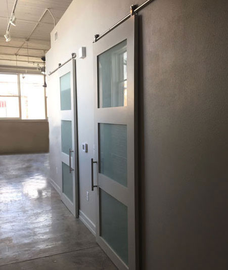 white shaker double doors with frosted glass panels