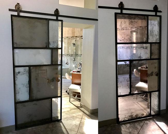random antique mirror artistic barn door with blacken steel frame