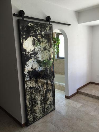 antique mirror single sliding barn door