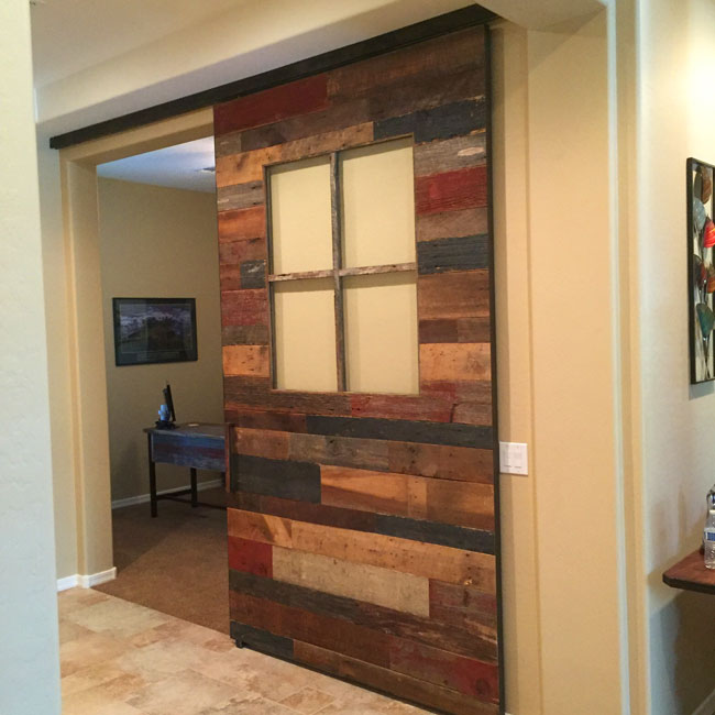 reclaimed barn wood barn door and box rail